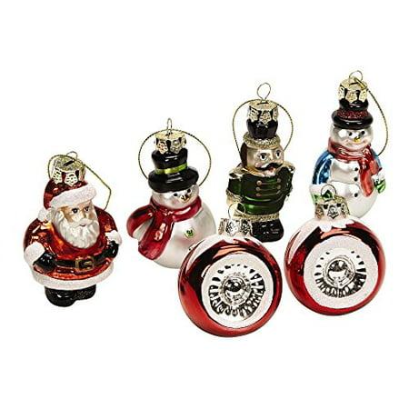 Nantucket Home Holiday Icons Santa, Snowmen, Nutcracker and Reflectors Glass Ornaments, Set of 6 ()