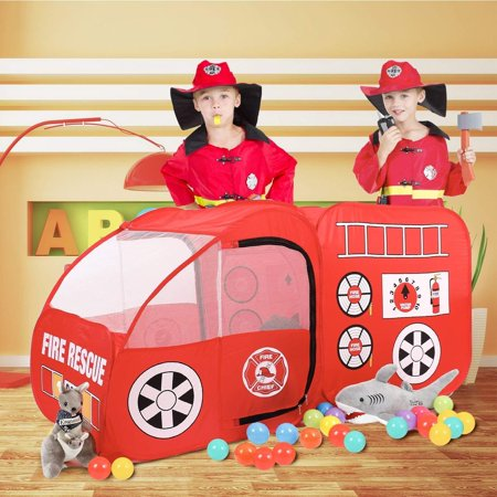 Fire Engine Truck Pop Up Play Tent Folding Portable Pretend Vehicle Indoor/Outdoor Playhouse for Kids Red
