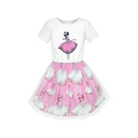 Short Sleeve Tutu - Girls Dress Dancing Girl Print Tutu Short Sleeve Sundress 5