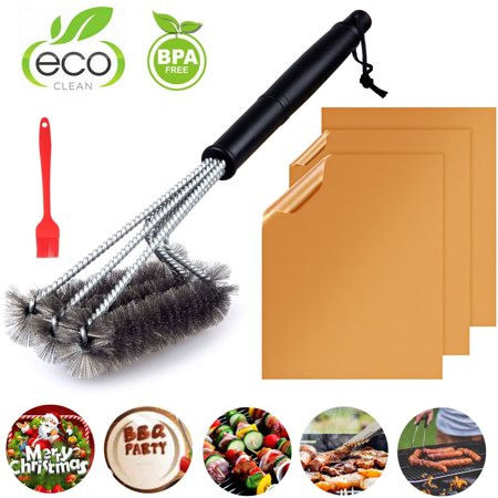 "Copper Grill Mats Set of 3 Non-Stick + 18"" Grill Brush Stainless Steel for Gas, Charcoal, Electric Grill Perfect Gift For Barbecue BBQ Lovers"