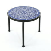 Soleil Outdoor Ceramic Tile Side Table with Iron Frame, Blue and White