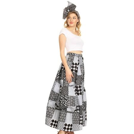 Sakkas Duru Women's African Ankara Print Wide Leg Culotte Pants Elastic Waist - 140-BlackBlue - One Size - Printed Culottes
