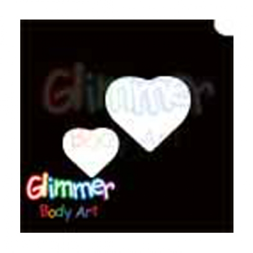 Glimmer Body Art Glitter Tattoo Stencils - Two Heart 5/pk