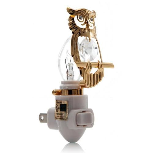 Matashi Crystal 24K Gold Plated Owl Night Light