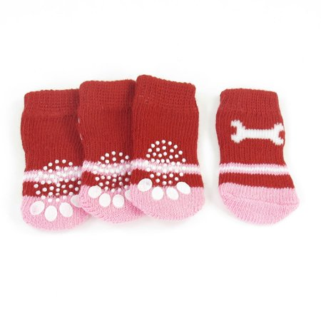 Unique Bargains 2 Pairs Bone Paw Print Elastic Knitted Pet Dog Yorkie Socks Red Pink Size S