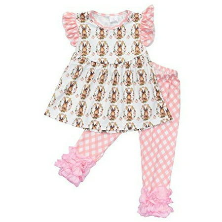 Unique Baby Girls Vintage Easter Bunny Easter Outfit (3T/S, Light Pink) - Easter Bunny Baby Outfit