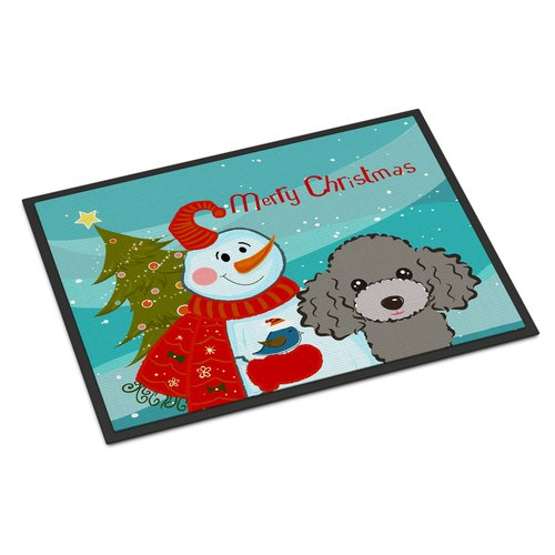 Snowman with Chocolate Brown Poodle Doormat by Caroline's Treasures