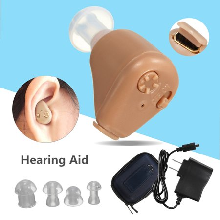 Rechargeable For Left/Right Ears Mini In Ear Hearing Aids Sound Amplifier Adjustable Volume Tone with 4 Ear Plugs Box Noise Reduction FDA Approved