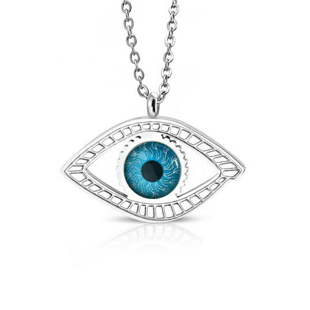 Stainless Steel Yellow Gold-Tone Silver-Tone Blue Evil Eye Pendant Necklace, 20