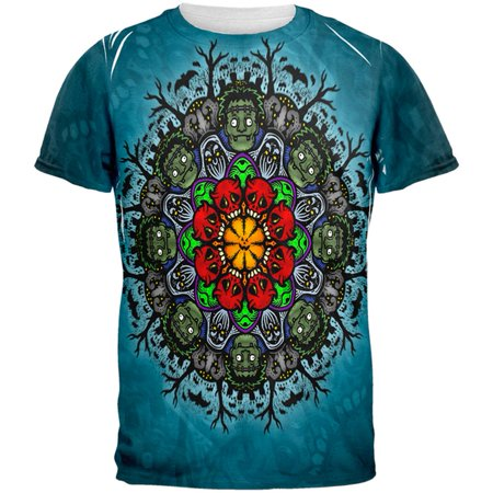 Halloween Classic Movie Monster Mandala All Over Mens T Shirt (Halloween Movie Song Mp3)