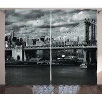 New York Curtains 2 Panels Set, Black and White Panorama of New York City Skyline with Focus on Manhattan Bridge Photo, Window Drapes for Living Room Bedroom, 108W X 84L Inches, Grey, by Ambesonne