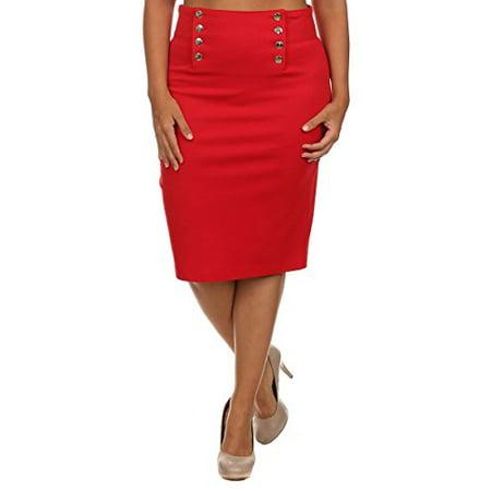 a4b91fe9862b Fourever Funky - High Waist Button Front Plus Size Nautical Pin-up Pencil  Skirt U.S.A - Walmart.com