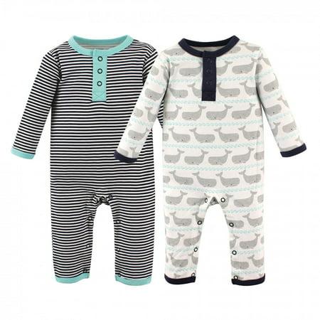 Hudson Baby Infant Boy Cotton Coveralls 2pk, Whale, 0-3 Months