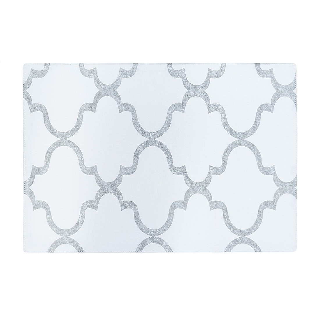 Linen Tablecloth Moroccan Print Placemat Set (Set of 4), White and Silver by Linen Tablecloth