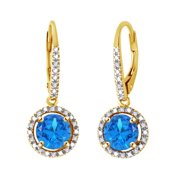 Round Cut Simulated Blue Topaz With Natural Diamond Dangle Earrings In 10K Solid Yellow Gold