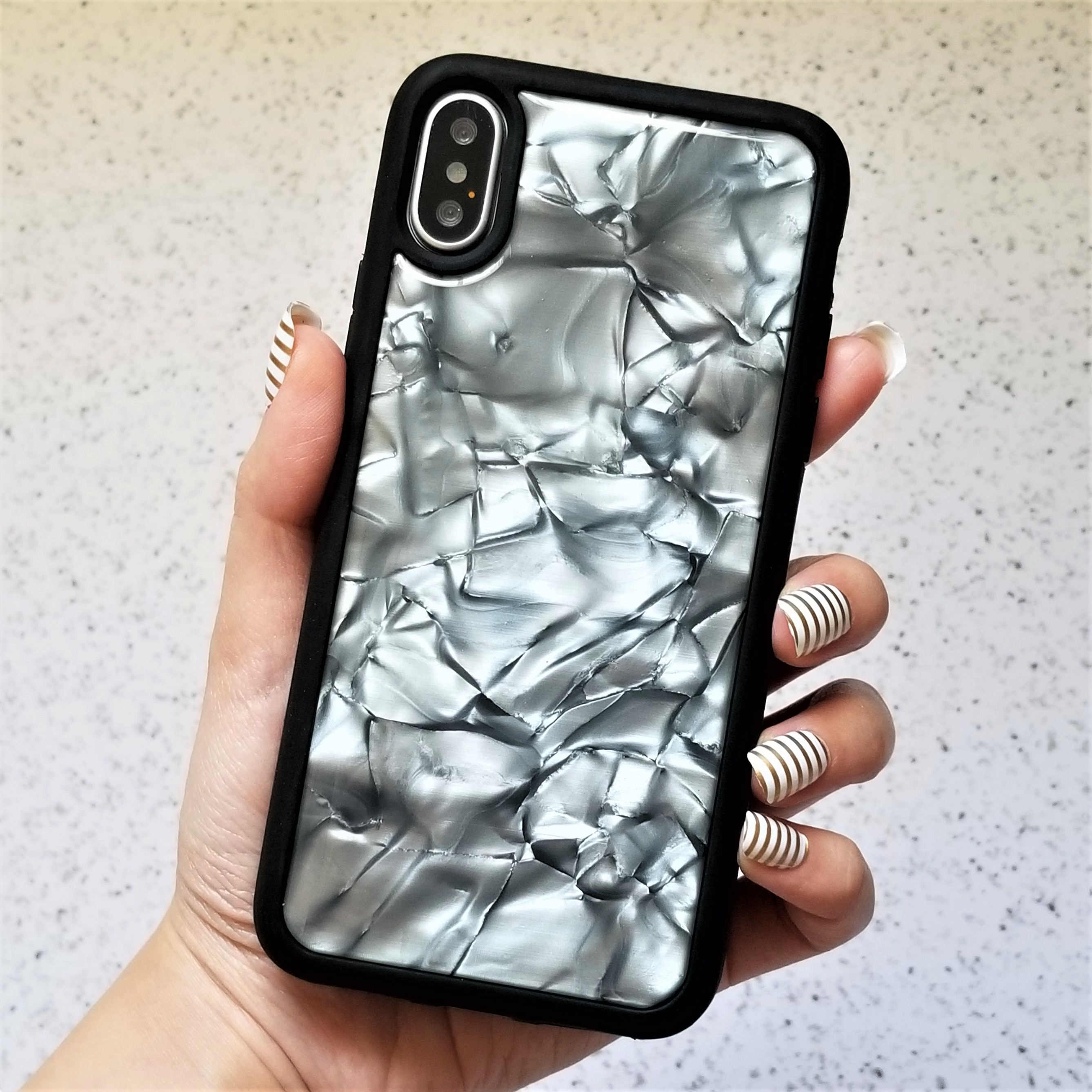 For iPhone X Glossy Crystal Textured Protective Marble Soft Case Cover