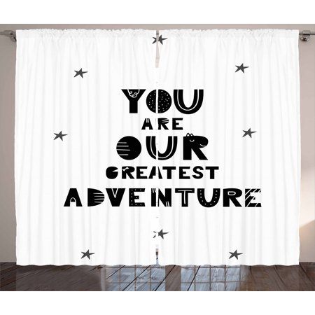 Adventure Nursery Curtains 2 Panels Set Calligraphic You Are Our Greatest Texts With Crooked Stars Window D For Living Room Bedroom