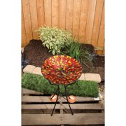 Carson, 13\ Red Hues Mosaic Art Glass Bird Bath""