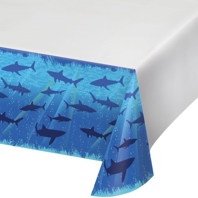 "Party Creations Shark Splash Plastic Tablecover, Border Print, 54"" x 108"", 1 Ct"