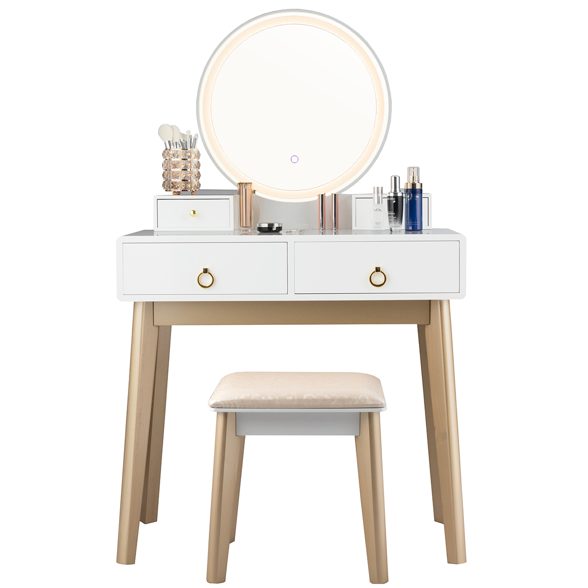 Giantex Vanity Table Set 3 Color Led Light Touch Screen Mirror W Stool Walmart Com Walmart Com