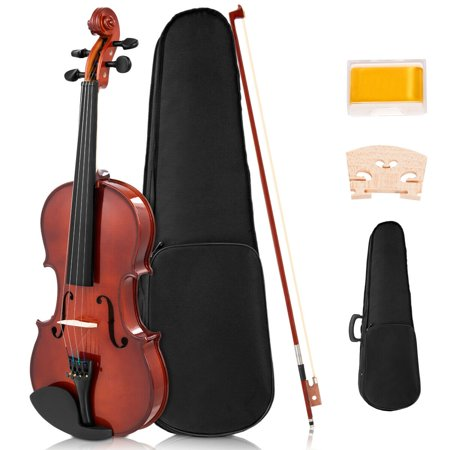 Costway Full Size 4/4 Violin Solid Wood with Hard Case Bow Rosin Bridge Student Starter (Bridge For Violin)