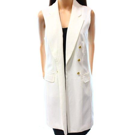 - INC NEW White Women's Size Large L Military Style Blazer Vest Jacket