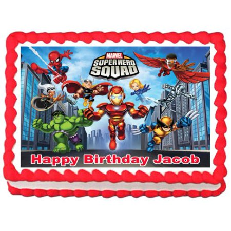 SUPER HERO SQUAD Party Edible Frosting Cake (Best Store Bought Frosting)