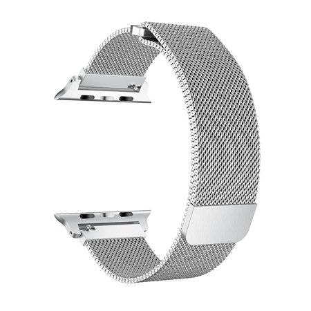 For Apple Watch Band 38mm, Stainless Steel Mesh Milanese Loop with Adjustable Magnetic Closure Replacement iWatch Band for Apple Watch Series 3 2 1 (38mm Silver) ()