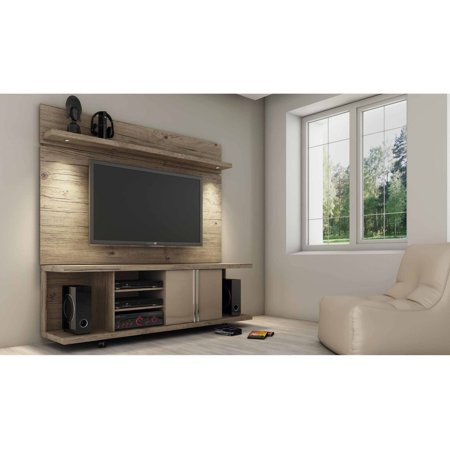Manhattan Comfort Carnegie Tv Stand And Park 1 8 Floating Wall Panel With Led Lights For