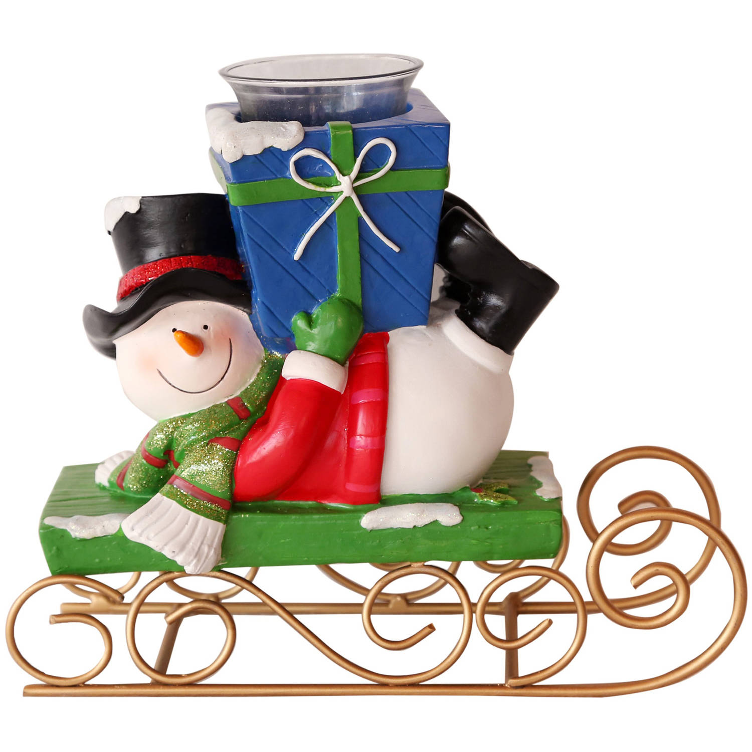 Snowman Sleigh with Green Present