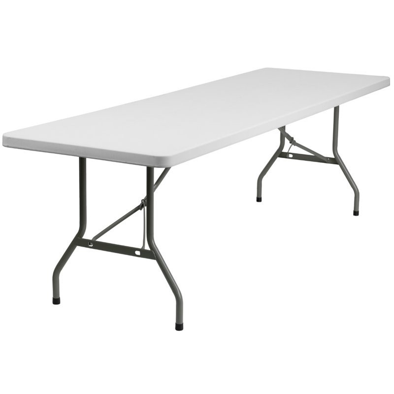 Flash Furniture 30''W x 96''L Granite White Plastic Folding Table by Flash Furniture