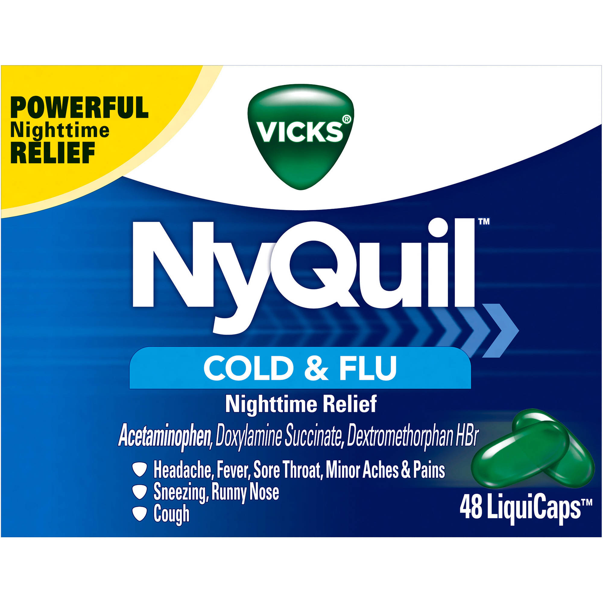 Vicks NyQuil Cold & Flu Nighttime Relief LiquiCaps, 48 count