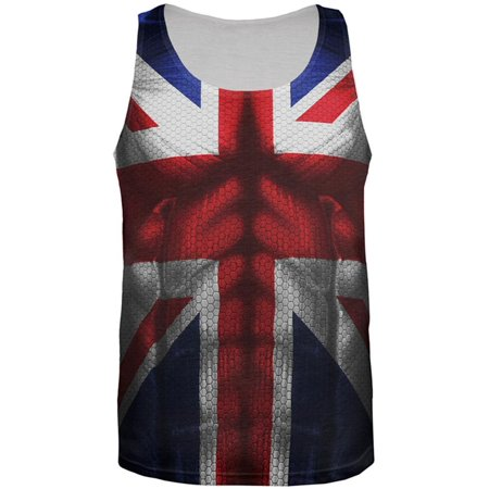 Halloween Union Jack British Flag Superhero Costume All Over Mens Tank Top - Superhero Tank Tops