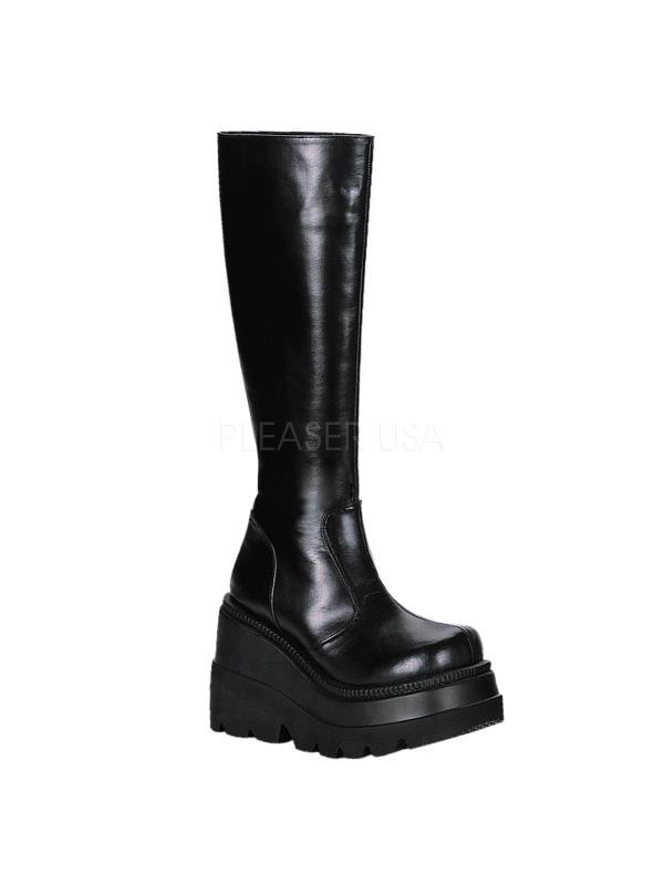 SHA100 B PU Blk Vegan Leather Demonia Vegan Boots Womens Size: 11 by