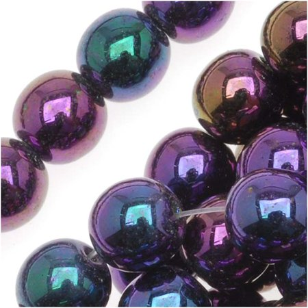 - Czech Glass Druk Round Beads 6mm Purple Iris (50)