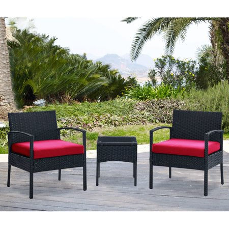 Dg Casa San Juan 3 Piece Outdoor Patio Deck Furniture Set With Chair Table And Seat Cushions Red In Black Synthetic Rattan Steel Frame
