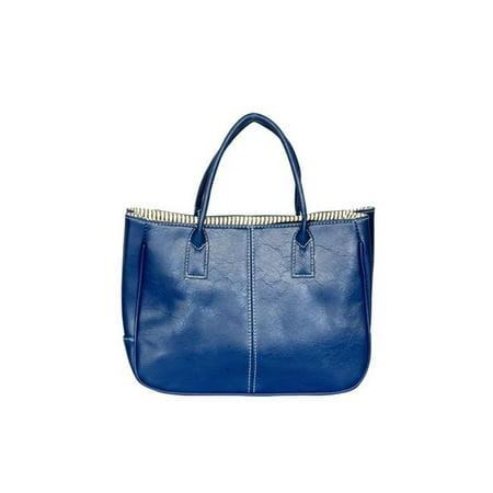 XX276-BLUE Blue Wind - Stylish Blue Double Handle Leatherette Bag Handbag Purse (Bag In The Wind)
