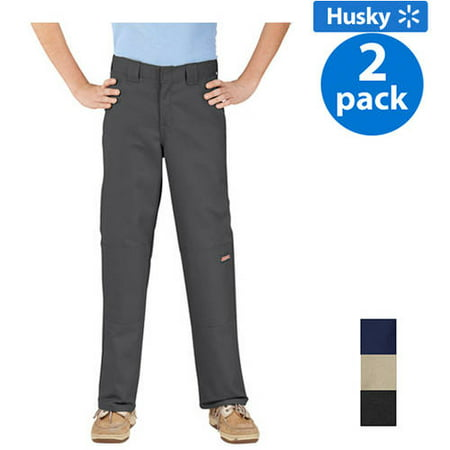 Dickies Husky Boys Double-Knee Twill Pants, 2-Pack Value Bundle 2 X Dickies Collection