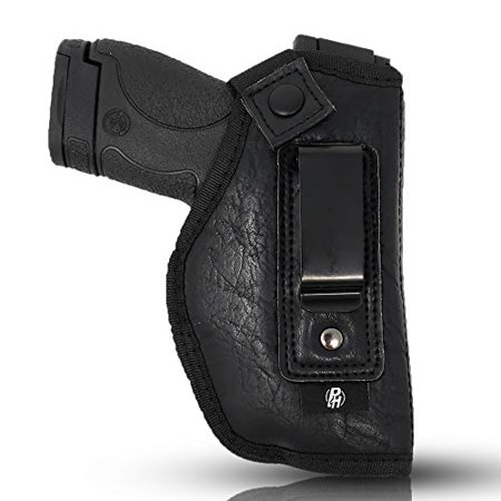 IWB Gun Holster by PH - Concealed Carry | Soft Interior | Fits M&P Shield 9mm.40.45 Auto/Glock 26 27 29 30 33 42 43, Ruger LC9, LC380 | Taurus Slim, PT111 | Springfield XD Series (Small) (Right) ()
