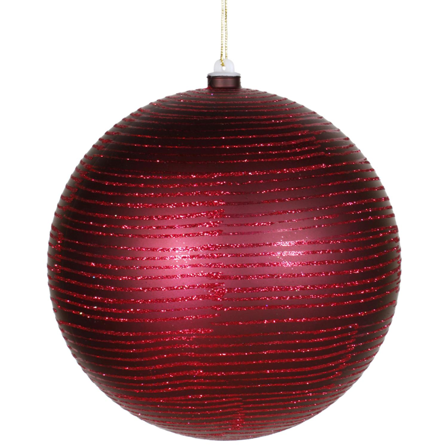 "Burgundy Glitter Striped Shatterproof Christmas Ball Ornament 8"" (200mm)"