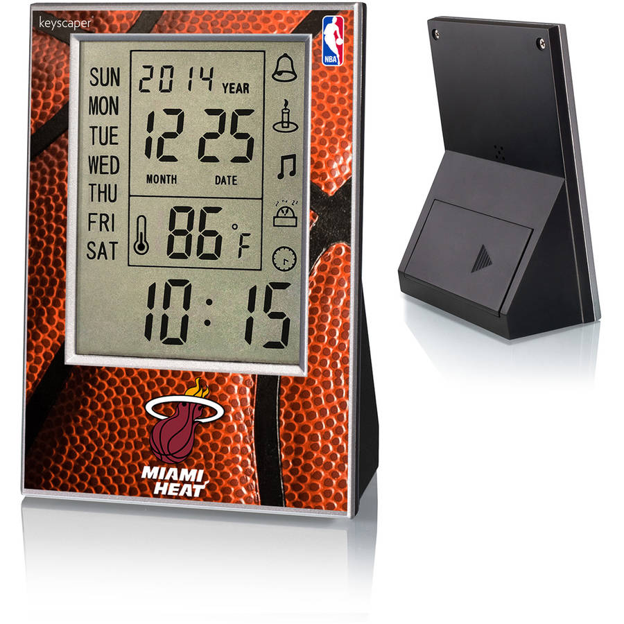Miami Heat Basketball Design Digital Clock by Keyscaper
