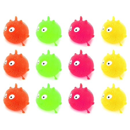 Fluffy Balls (12 PCS Light Up LED 'Fluffy Creature' Squeezable Children's Kid's Toy Yoyo Ball (Colors May)