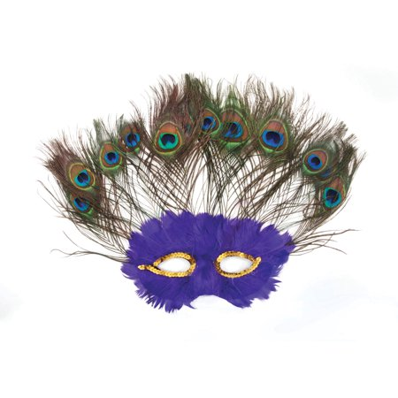 Loftus Peacock Masquerade Sequin Feather Mask, Purple, One Size -  Walmart.com