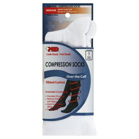 adeb3b26b8 MD USA - MD USA Ribbed Cotton Compression Socks with Cushion Soles, White,  Medium, 1 Pair - Walmart.com