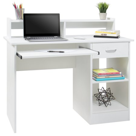 Best Choice Products Commercial Home Computer Laptop Work Station Desk Table w/ Removable Shelf Divider, Open Back for Home, College, Office - White