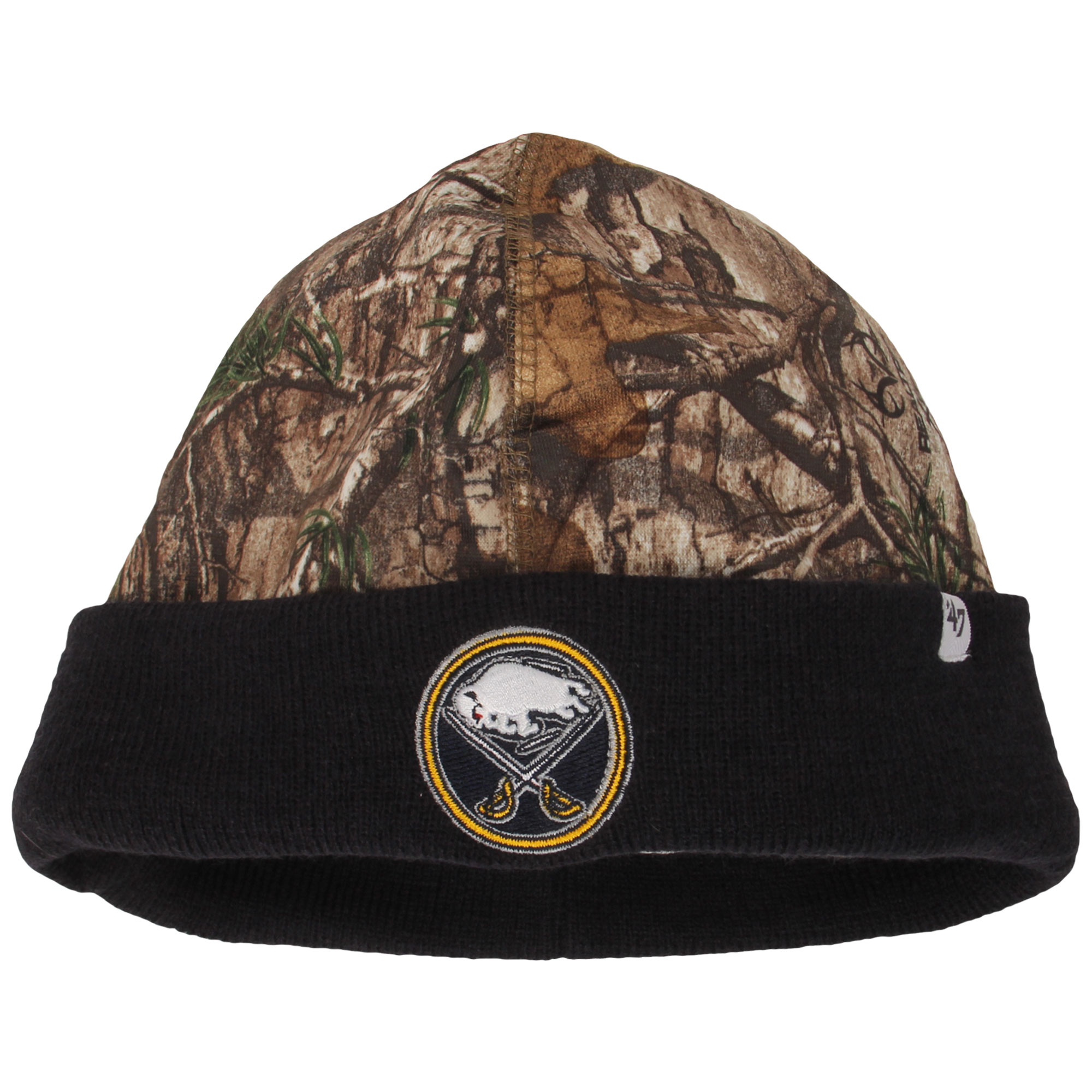 Buffalo Sabres '47 Real Tree Foxden Cuffed Knit Hat - Camo/Navy - OSFA
