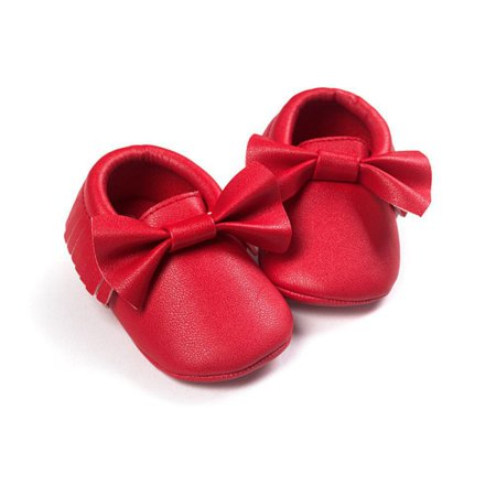 Infant Girl Baby Soft Sole Leather Tassel Bowknot Princess Shoes for 0-18M (Soft Gold Leather Footwear)