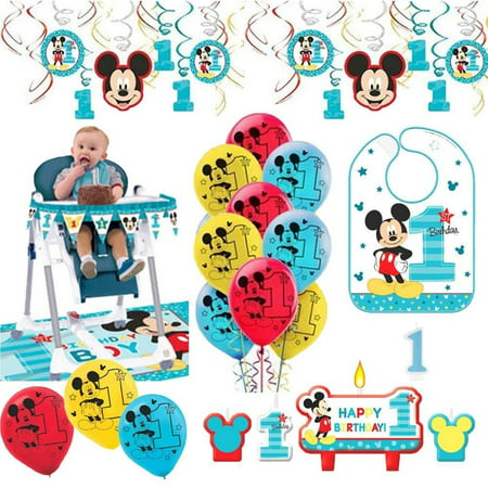 Mickey Mouse First Birthday Fun To Be One 1st Birthday Party Supplies Decoration Pack - Mickey Mouse For Birthday Party