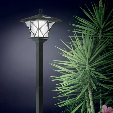 Ideaworks Solar Powered LED Yard Lamp With 5 Foot Pole For Outdoor Lighting ()