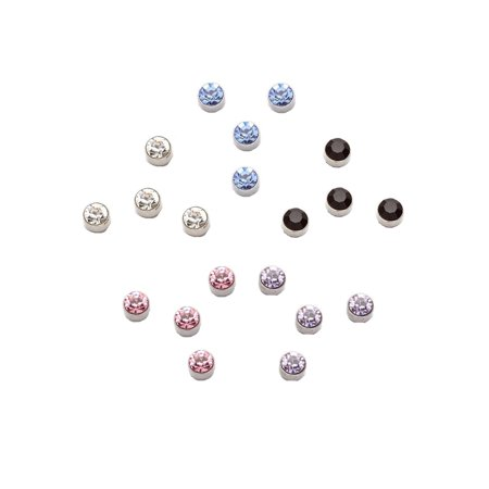 iJewelry2 Round Cut Crystals Stainless Steel Magnetic Stud Earrings in Assorted Colors 10 Pairs Package